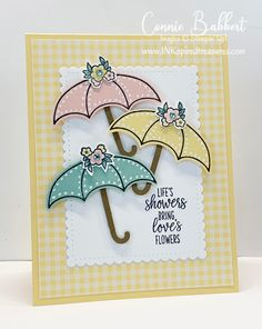 I love this card using Stampin' Up!'s Under My Umbrella bundle (stamp set and punch! Umbrella Cards, Chalk Pens, Under My Umbrella, Copics, Paper Cards, Baby Cards, Greeting Cards Handmade, Homemade Cards, Stampin Up Cards