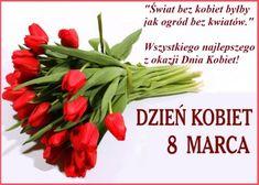 Bukiet tulipanów i życzenia z okazji Dnia Kobiet - Życzenia na GifyAgusi.pl Green Beans, Motto, Sour Cream, Mottos