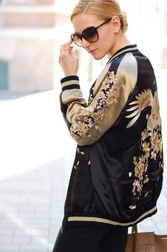 Henar from Oh MY Vogue in a fab embroidered bomber