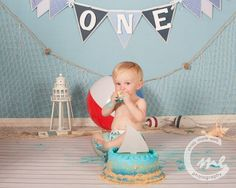 Rowan's mommy wanted a shark themed cake smash for Rowan's first birthday. So along with a sea blue backdrop, a boardwalk inspired floor, a fish net and a few beachy items. Topped off with a shark fin cake to complete the look I think we did okay. Just add baby! Lol!Rowan has been coming to me…
