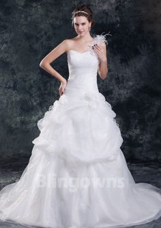 Sweep White A-line Sleeveless One Shoulder Ruched Tulle Zipper  Wedding Dresses