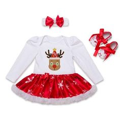 f35bc62b1798 2017 Christmas Cotton White Long Sleeve Girl Rompers Dress Baby Girls  Clothes Sets Tutù Per Bambina