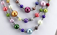 Color Shell Beads necklace bridesmaid gift beadwork by PodJewelry, $9.99