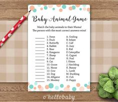 Baby Animal Names Baby Shower Game Mint Peach Dots by ohellobaby