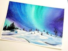 How to paint Northern Lights – Step By Step Painting How to Paint Aurora Skyline – Step By Step Painting. Acrylic Painting For Beginners Winter Painting, Light Painting, Water Color Painting Easy, Painting Art, Acrylic Painting Canvas, Watercolor Paintings, Easy Watercolor, Watercolor Artists, Abstract Paintings