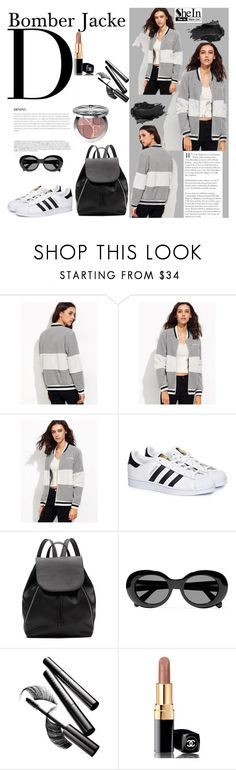 """""""Heather Grey Striped Trim Fluffy Panel Bomber Jacket with Shein"""" by manuelsbolli ❤ liked on Polyvore featuring Urban Decay, BoConcept, adidas, Witchery, Acne Studios, Chantecaille, Chanel and Christian Dior"""