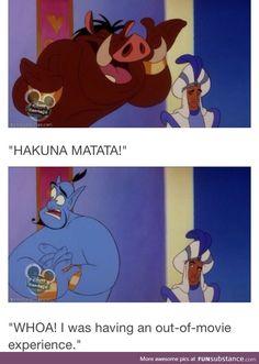 Wait a second, he's not supposed to have those cuffs! Disney why'd you enslave genie again? Disney Marvel, Disney Pixar, Disney Jokes, Funny Disney Memes, Disney Facts, Disney Fun, Disney And Dreamworks, Disney Magic, Funny Memes