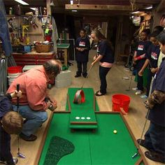 DIY Miniature Golf Course - made up of panels that you can take apart and rearrange to make the game as easy or hard as you like. Create as many panels as you need for 1, 2, or even 18 holes. Then give everyone a putter, and theyll have a ball—literally—trying to navigate the obstacles you set for them...full step-by-step instructions