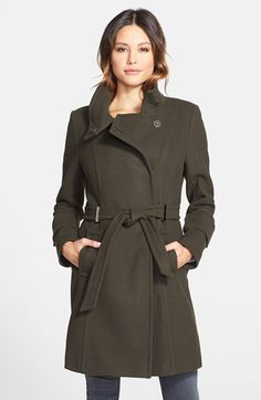 Free shipping and returns on Elie Tahari 'India' Stand Collar Belted Wool Blend Coat at Nordstrom.com. A refined wool-blend coat exudes a polished military air in a belted silhouette with a high stand collar and asymmetrical front. Gleaming metal belt loops at the front enhance the look.  515