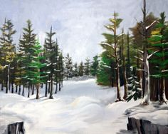 "'Snowy Forest' by Shawn Hart  | $250 | 20""w x 16""h 