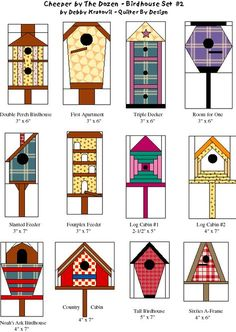 Bird house Quilt Patterns- 'Cheeper by the Dozen Birdhouse Set by Debby Kratovil- Quilter By Design House Quilt Patterns, Paper Pieced Quilt Patterns, Patchwork Quilting, Quilt Block Patterns, Applique Quilts, Paper Patterns, Bird Quilt Blocks, House Quilt Block, Patch Bordado