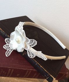 Another great find on #zulily! Satin & Lace Appliqué Headband with Pearl #zulilyfinds