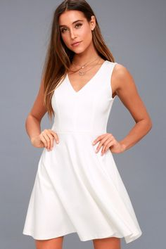 Show off your sweet side in the Bon Appetit White Skater Dress! 62a024961
