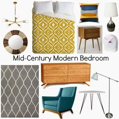 Mid-Century Modern Bedroom. gray, blue, golden yellow. love the color combination