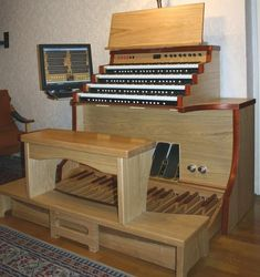 Pasztor's Hauptwerk console with MIDIWorks keyboards and swell shoes…
