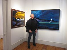 At Edward Hopper House Art Center in Nyack, NY- Philip Koch with his oil paintings Yellw Arcadia (L) and The Reach IV (R). The Art Center's feature exhibition of Koch's work continues through April 12, 2015. www.edwardhopperhouse.org