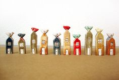 Little houses with birds.