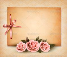 Retro background with pink roses and old paper. Vector illustration. Fully editable, vector objects separated and grouped, no blen