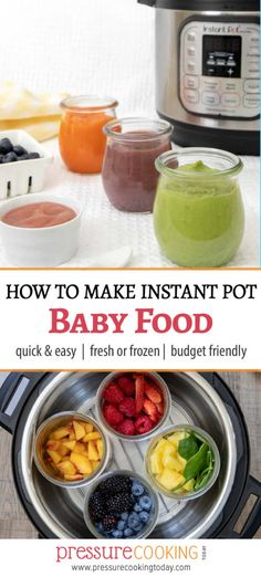 Pin It image for Instant Pot Baby Food post - collage with baby food purees on top and fruits inside the Instant Pot on the bottom food recipes How to Make Baby Food in Your Instant Pot / Pressure Cooker - Pressure Cooking Today™ Instant Pot Pressure Cooker, Pressure Cooker Recipes, Marmite, Instant Pot Baby Food, Fingerfood Baby, Healthy Baby Food, Healthy Meals, Carrot Baby Food, Baby Food Puree