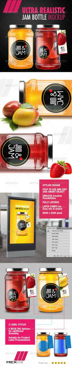 Realistic Glass Jar/ Bottle Mockup with extra branding elements. Add some realistic look to your next package design...!!1 http://3.s3.envato.com/files/81834962/Jam-bottle-Mockup.jpg