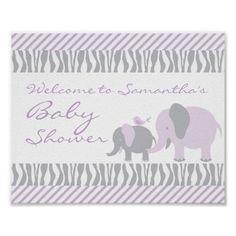 Purple & Grey Elephant Welcome Door Sign