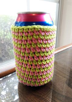 Pink and Green Striped Handmade Crocheted Cotton Soda/Beer Can or Mason Jar Cozy/Coozie - Machine Washable by HoffmanHandicrafts on Etsy