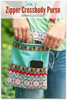 Sew a crossbody purse with a zipper on sewmccool.com - love the iPhone pocket