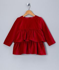 Take a look at this Red Velvet Tiered Dress - Infant, Toddler & Girls by Velvet & Tweed on #zulily today!
