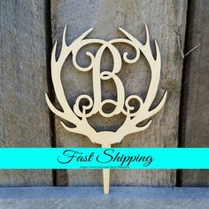 6 Wooden Antler Cake Topper  Personalized Cake Topper  by MattieVs