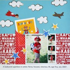 Super Cute!! Superhero #scrapbook design using the Party with Amy Locurto Scrapbook & Party #Paper Collection.