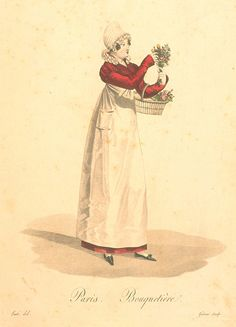 Dames a la Mode: The Workers of Paris, Bouquetiere (flowergirl), Regency Dress, Regency Era, Working Woman, Little Girl Dresses, Historical Clothing, Costume, Fashion Plates, Fashion Sketches, Fashion Prints