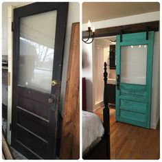 We salvaged this old door from a farm house in TN before it was torn down. To cover the deadbolt hole, we added a second knob. Hung the door on a barn door track and voila. Love the results! We are planning to treat the glass at some point. Looking for a vintage style film. Guest room in TN.