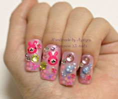 Japanese 3D fake nails bunny candy stars and gems on by Aya1gou, $21.00