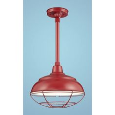 R Series Satin Red 14-Inch Warehouse Outdoor Pendant with 24-Inch Stem and Wire Guard