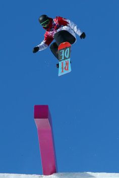 SOCHI, RUSSIA - FEBRUARY 08: Sebastien Toutant of Canada competes during the Snowboard Men's Slopestyle Final during day 1 of the Sochi 2014 Winter Olympics at Rosa Khutor Extreme Park on February 8, 2014 in Sochi, Russia. (Photo by Cameron Spencer/Getty Images)