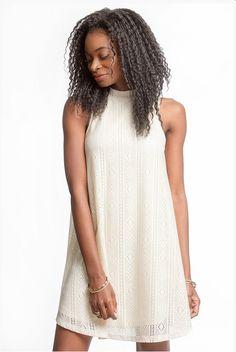 Cream Lasercut Aline Dress