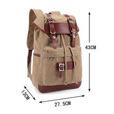 Casual Canvas Leather Shoulder Bag School College Style Backpack Laptop Bag Rucksack Satchel Knapsack ( Army Green )  - Click image twice for more info - See a larger selection of boys teens backpacks - kids, boys, little boys, school supplies, kids fashion , teenager, bags.