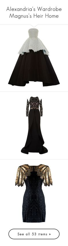 """""""Alexandria's Wardrobe Magnus's Heir Home"""" by punkette123 ❤ liked on Polyvore featuring dresses, gowns, elizabeth kennedy, evening gowns, vestidos, black, strapless peplum dress, embroidery dresses, peplum dress and embroidered evening dress"""