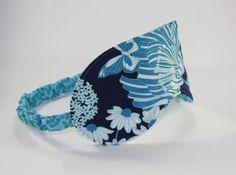 Sleep Mask Eye Mask Blue Flowers Cotton Ready by BlackCatStitches, $11.00