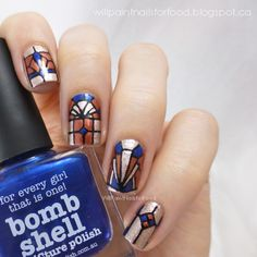 Will Paint Nails for Food: piCture pOlish Blog Fest 2013: Art Deco Stained Glass Nails + Tutorial