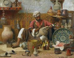 Jean Discart (French 1856-1944)  Title: The Pottery Workshop, Tangiers (L'Atelier de Poterie, Tanger)