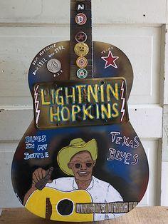 Lightnin' Hopkins -Dan Dalton Art Blues folk art, guitar art, Texas Blues