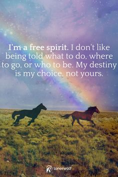 I'm a free spirit. My destiny is my choice, not yours.