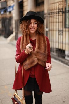Red coat, faux fur palatine and black hat