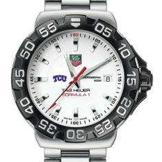 Texas Christian University TAG Heuer Watch - Men's Formula 1 Watch with Bracelet by TAG Heuer. $1495.00. Swiss-made Quartz movement.. Authentic TAG Heuer watch only at M.LaHart & Co.. Unique TAG Heuer presentation box.. Officially licensed by Texas Christian University. TAG Heuer international two-year warranty. Texas Christian University TAG Heuer men's Formula 1 watch brings sport and style to TCU by featuring the TCU logo. Brushed and Polished steel bracelet with double...
