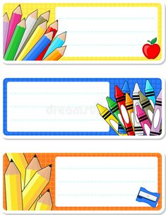 Illustration about School notebook labels isolated on white background. Classroom Labels, Classroom Decor, Notebook Labels, School Border, Education Templates, Kids Background, School Labels, School Frame, School Clipart