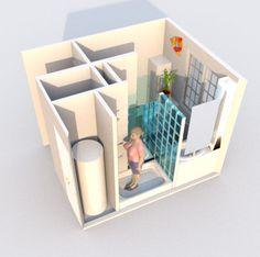 Aménagement d'une salle de bain et de toilettes - Perspective réalisée avec le logiciel Sweet Home 3D de l'idée n°1