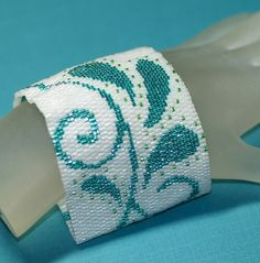 Paisley  Peyote Cuff  Wide Bracelet  Frosty White  by time2cre8, $93.00