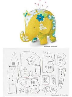 Sewing Toys Patterns Pin Cushions 26 Ideas For 2019 Sewing Toys, Sewing Crafts, Sewing Projects, Fabric Toys, Fabric Crafts, Elephant Pattern, Sewing Accessories, Stuffed Animal Patterns, Stuffed Animals
