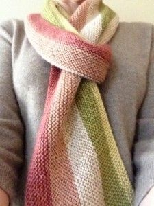 I love garter stitch scarves; this looks great! : The Garter Sideways Scarf from Knitting to Know Ewe.
